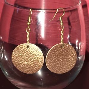 Lightweight & handmade faux leather disk earrings